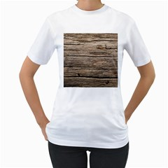 Weathered Wood Women s T Shirt (white) (two Sided)