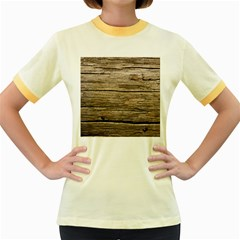 Weathered Wood Women s Fitted Ringer T Shirts
