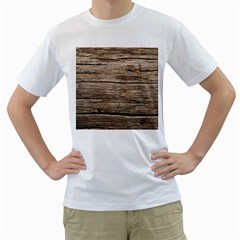 Weathered Wood Men s T Shirt (white) (two Sided)