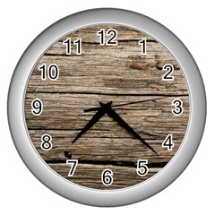 Weathered Wood Wall Clocks (silver)