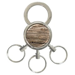 Weathered Wood 3 Ring Key Chains