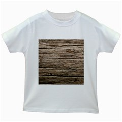 Weathered Wood Kids White T Shirts