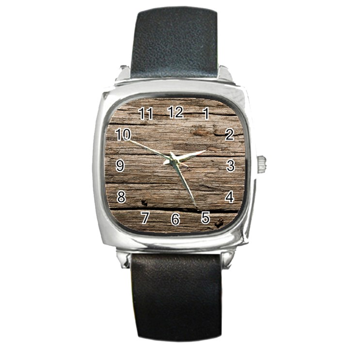 WEATHERED WOOD Square Metal Watches