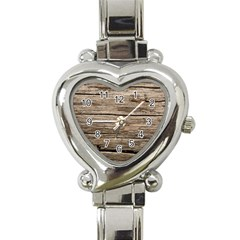 Weathered Wood Heart Italian Charm Watch