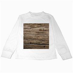 Weathered Wood Kids Long Sleeve T Shirts