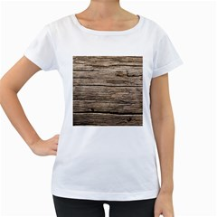 Weathered Wood Women s Loose Fit T Shirt (white)