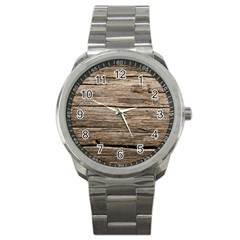 Weathered Wood Sport Metal Watches