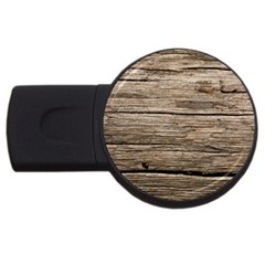 Weathered Wood Usb Flash Drive Round (4 Gb)