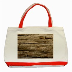 Weathered Wood Classic Tote Bag (red)