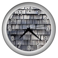 Weathered Shingle Wall Clocks (silver)