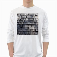 Weathered Shingle White Long Sleeve T Shirts