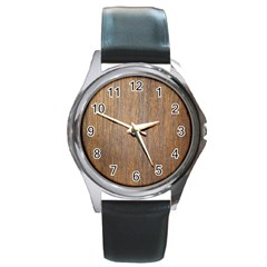 Walnut Round Metal Watches