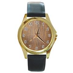 Walnut Round Gold Metal Watches