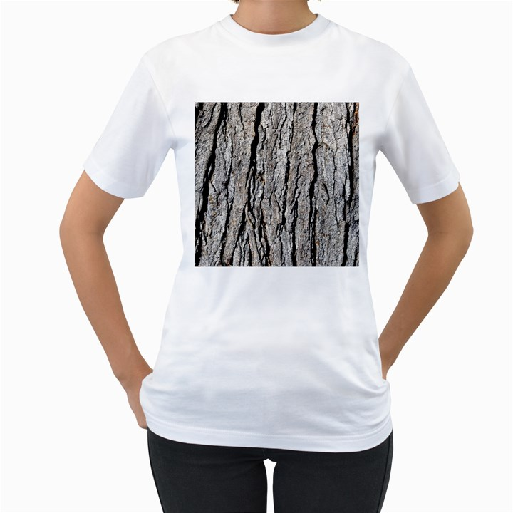 TREE BARK Women s T-Shirt (White) (Two Sided)