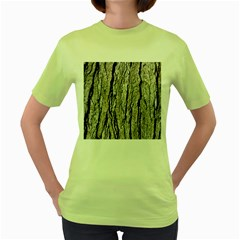 Tree Bark Women s Green T Shirt