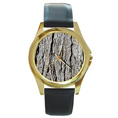 Tree Bark Round Gold Metal Watches