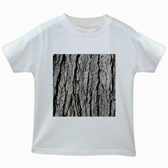Tree Bark Kids White T Shirts