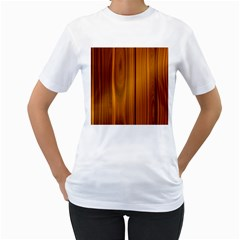 Shiny Striated Panel Women s T Shirt (white) (two Sided)