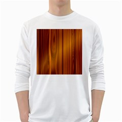 Shiny Striated Panel White Long Sleeve T Shirts