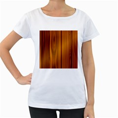 Shiny Striated Panel Women s Loose Fit T Shirt (white)
