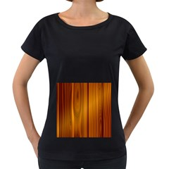 Shiny Striated Panel Women s Loose Fit T Shirt (black)