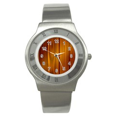 Shiny Striated Panel Stainless Steel Watches