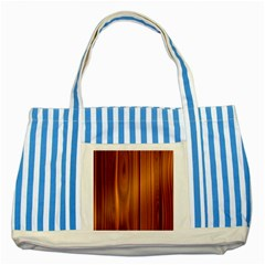 Shiny Striated Panel Striped Blue Tote Bag