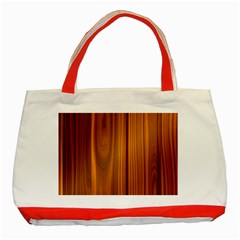 Shiny Striated Panel Classic Tote Bag (red)