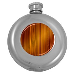 Shiny Striated Panel Round Hip Flask (5 Oz)