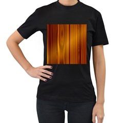 Shiny Striated Panel Women s T Shirt (black)