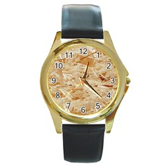 Osb Plywood Round Gold Metal Watches
