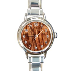 Old Brown Weathered Wood Round Italian Charm Watches