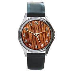 Old Brown Weathered Wood Round Metal Watches