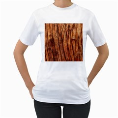 Old Brown Weathered Wood Women s T Shirt (white) (two Sided)