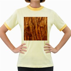 Old Brown Weathered Wood Women s Fitted Ringer T Shirts