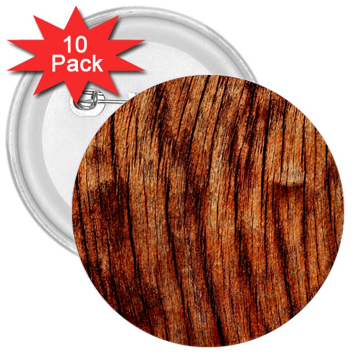 OLD BROWN WEATHERED WOOD 3  Buttons (10 pack)