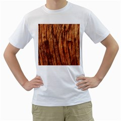 Old Brown Weathered Wood Men s T Shirt (white) (two Sided)