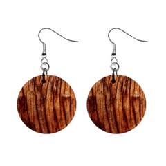 Old Brown Weathered Wood Mini Button Earrings