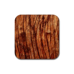 Old Brown Weathered Wood Rubber Coaster (square)