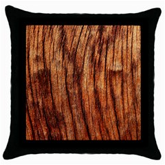 Old Brown Weathered Wood Throw Pillow Cases (black)