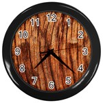 OLD BROWN WEATHERED WOOD Wall Clocks (Black) Front