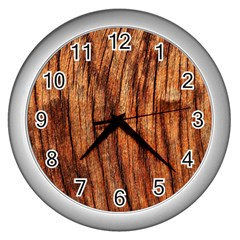 Old Brown Weathered Wood Wall Clocks (silver)