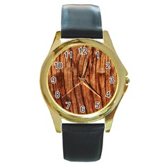 Old Brown Weathered Wood Round Gold Metal Watches