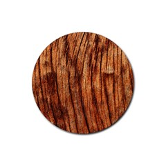 Old Brown Weathered Wood Rubber Coaster (round)