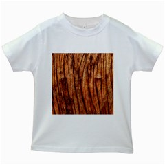 Old Brown Weathered Wood Kids White T Shirts