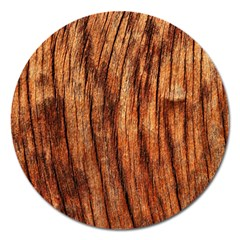 Old Brown Weathered Wood Magnet 5  (round)