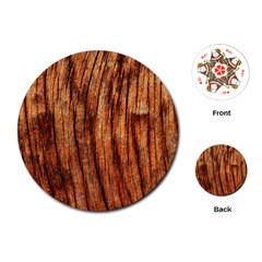 OLD BROWN WEATHERED WOOD Playing Cards (Round)