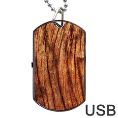 OLD BROWN WEATHERED WOOD Dog Tag USB Flash (Two Sides)