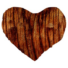 OLD BROWN WEATHERED WOOD Large 19  Premium Heart Shape Cushions