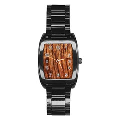 OLD BROWN WEATHERED WOOD Stainless Steel Barrel Watch